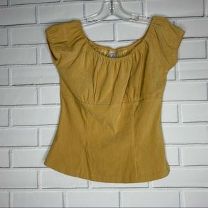 Finesse top faux suede mustard yellow medium